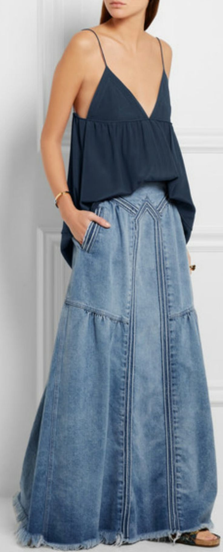 DENIM - Frayed denim maxi skirt ( CHLOÉ ), Silk crepe de chine camisole ( CHLOÈ ),  Fringed bouclé-jacquard slides ( CHLOÉ )