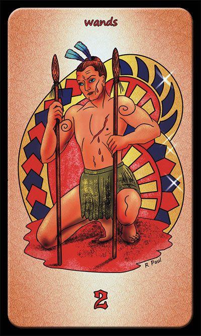 2 of wands tarot card (from Maori Tattoo Tarot deck) www.maoritattootarot.com