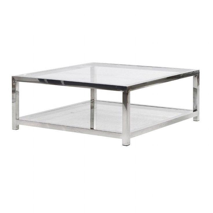 Terano Contemporary Metal and Glass Top Square Coffee Table