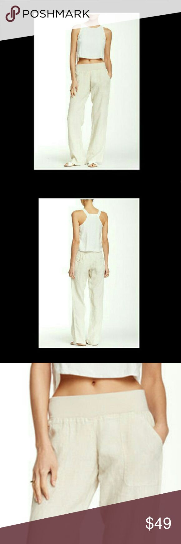 """Lazy Summer Days' Coming Soon Lazy Summer Days Linen  Lounge Pants. Whether you are headed  for the Bahamas, The Keys, or the hammock in your back yard, go in  style and comfort in these casual linen lounge pants. Details: Elastic waist, front slant pockets, back welt pockets, approximately 9"""" rise & 31"""" inseam  100 % LINEN  Flax is the color Pants"""
