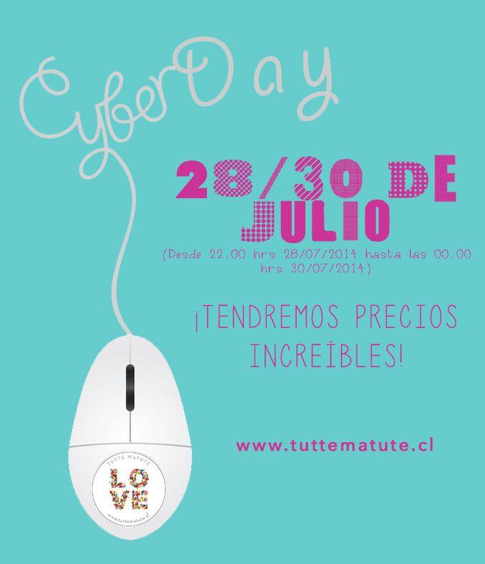Cyber Day 28/30 de Julio 2014. (Desde las 22.00 hrs 28/07/2014 hasta 00.00 hrs 30/07/2014)  www.tuttematute.cl  #cyberday #descuentos #regalos #accesorios #babies #kids #deco #escritorio #mujer #jardin #terraza #carcasas #iphone