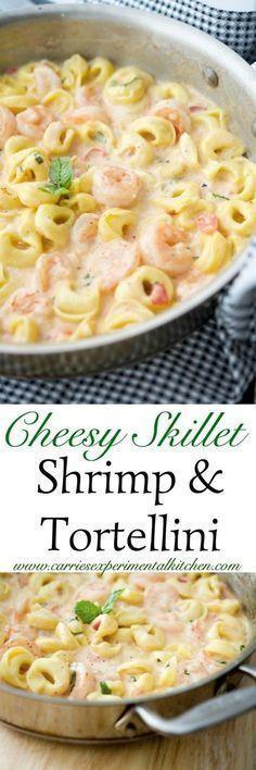 Cheesy skillet shrimp and tortellini