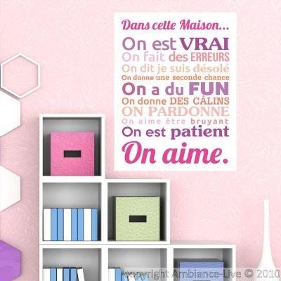 Sticker poster dans cette maison couleurs girly - stickers Citations Français - ambiance-sticker