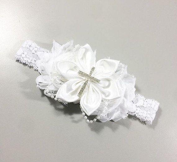 Baptism headband/white/cross by Valsheadbands on Etsy