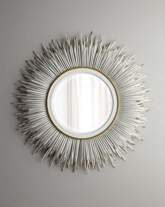 White Porcupine Quill Mirror Living Room