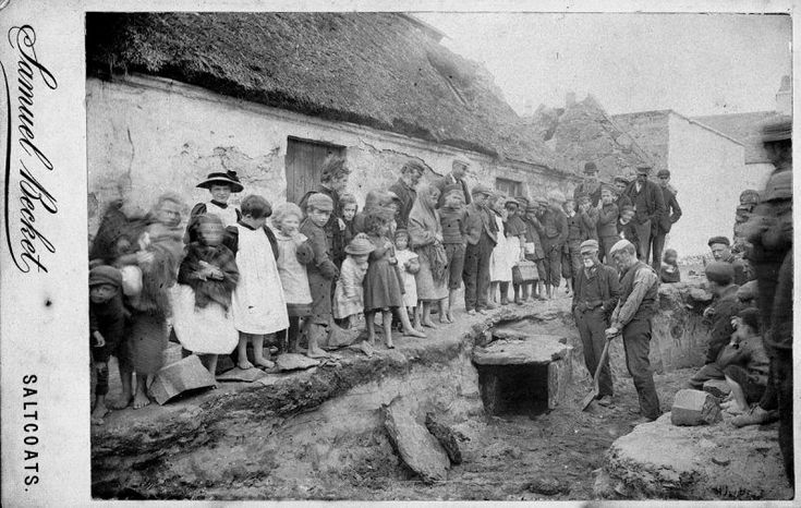 Bronze Age cist excavation at Pun Brae in 1895  -  This Bronze Age cist, or burial chamber constructed with stone slabs, was discovered at Pun Brae in Stevenston, North Ayrshire in Scotland on 3rd July 1895. Excavations revealed a food vessel and a stone 'club' which are now held in North Ayrshire Museum, Saltcoats.   Photographer: Samuel Becket Format: carte de visite Image reference: SC589880  Find out more about the cist:  canmore.rcahms.gov.uk/en/site/41061/    © RCAHMS (George App..
