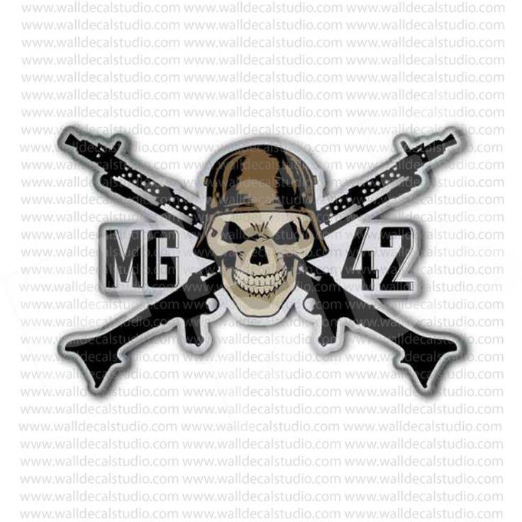 German Mg42 Gun Nazi Skull Inside Sticker Skulls