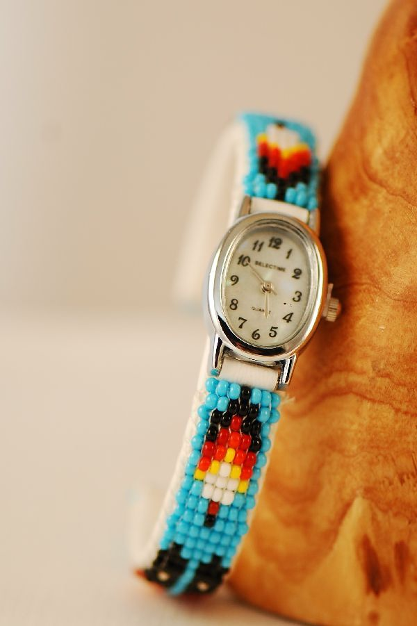 Navajo – Multi-Colored Seed Bead Prayer Feather Watch Bracelet by Sylvia Spencer Price: $122.50 Code: LWB135