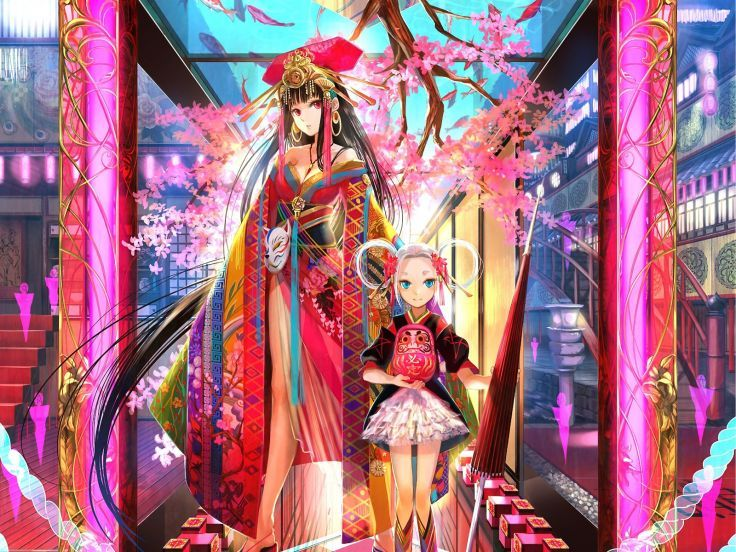 brunettes women fantasy lolitas cherry blossoms cityscapes multicolor blue eyes glass patterns cleavage houses Japanese long hair kimono red eyes masks earrings jewelry umbrellas white hair Fuji Choko east style Japanese clothes anime girls hair ornaments wallpaper background