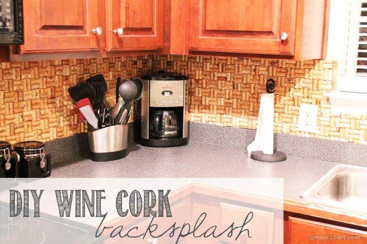 DIY Wine Cork Backsplash via createcraftlove.com #DIY #winecork #kitchen