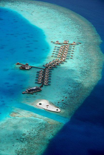Maldives in ocean, villas water bungalow sea