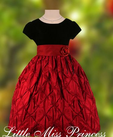Black Velvet and Red Taffeta Girls Christmas Holiday Party Dress by Little Miss Princess