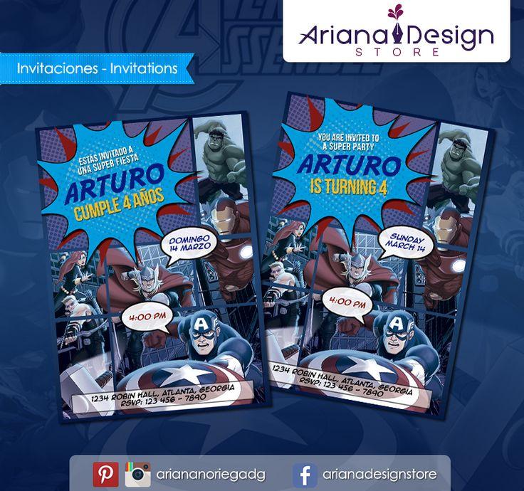 #printable #invitation #avengers #superheroes #arianadesignstore #invitacion #fiestainfantil #cumpleaños #losvengadores