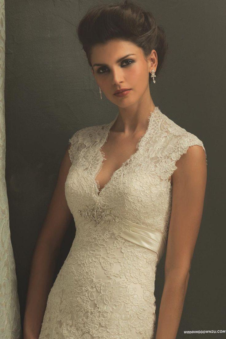 Discount allure couture c155 vintage lace wedding dress for Cheap allure wedding dresses