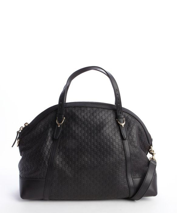 Gucci black microguccissima 'Nice' leather convertible  top handle bag