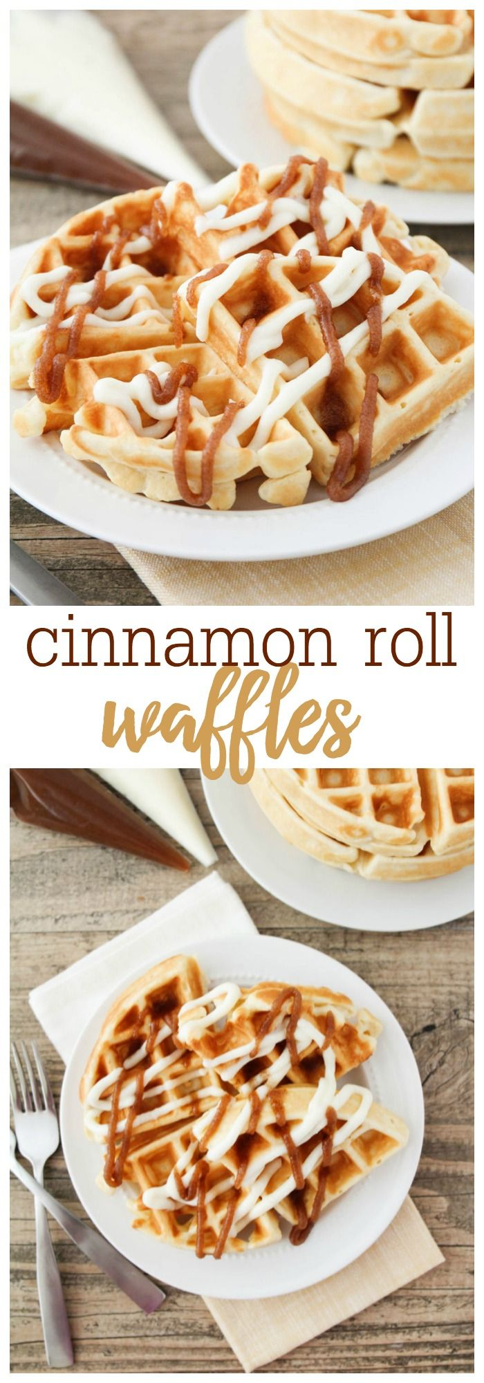 Cinnamon Roll Waffles - crisp, buttery, tender waffles, topped with an amazing combination of sweetened cream cheese and a cinnamon brown sugar topping. Each bite tastes just like a homemade cinnamon roll, but they're so much faster and easier to make!