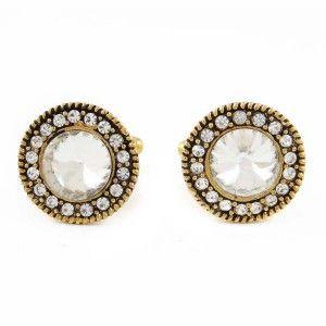 Men Shirt Designer Cufflinks Gold Tone CZ Stone 2 Pcs Jewellery Set Gift For Him