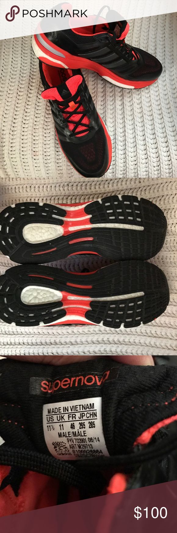 ADIDAS SUPERNOVA - SEQUENCE BOOST - MENS RS 11.5 ADIDAS - SUPERNOVA-- SEQUENCE BOOST!!!  RUNNING SHOE!!!  --- ONE TIME USED!!!  Little yellowing on white areas...STILL LOOKS NEW!!!  GREAT CONDITION!!!  ❤️ Adidas Shoes Athletic Shoes