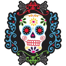 Day of the Dead Black and Bone Skull Cutout | Wally's Party Factory #dayofthedead #blackandbone #skull #cutout #halloween #decor
