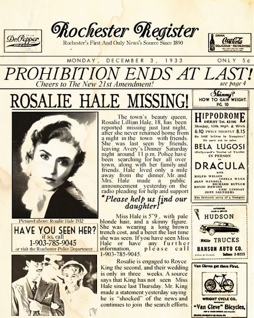 "anthony-masen: "" The Cullens In the News- Rosalie Hale 1933 """