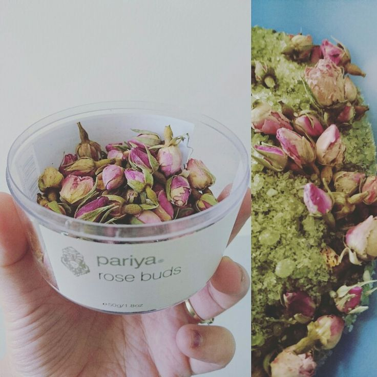 Adding these gorgeous edible dried rose buds to our new batch of Matcha blend bath salts.    They smell devine.    Free samples available at littlebluescent.com.au