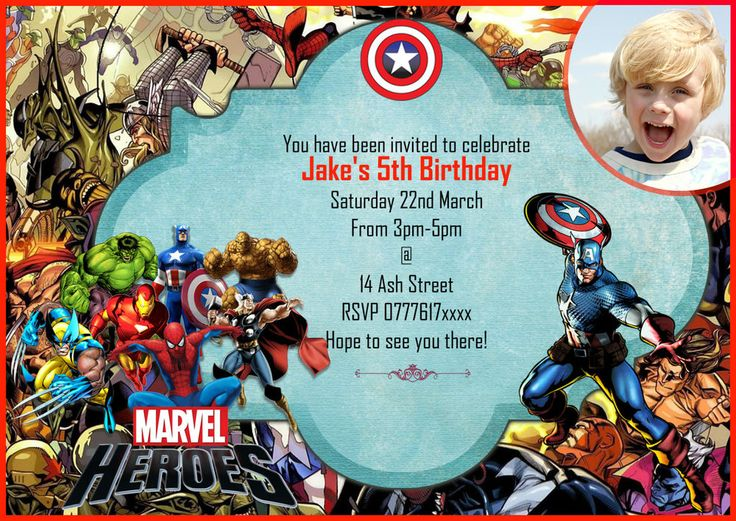 Personalised boys Birthday Party InvitationsThank you card Marvel – Personalised Birthday Thank You Cards