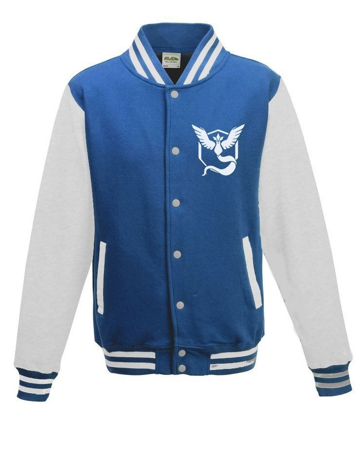 GoTshirts -Pokemon -Team Mystic Varsity Jacket - Blue & White - Dragons Den Fancy Dress Limited