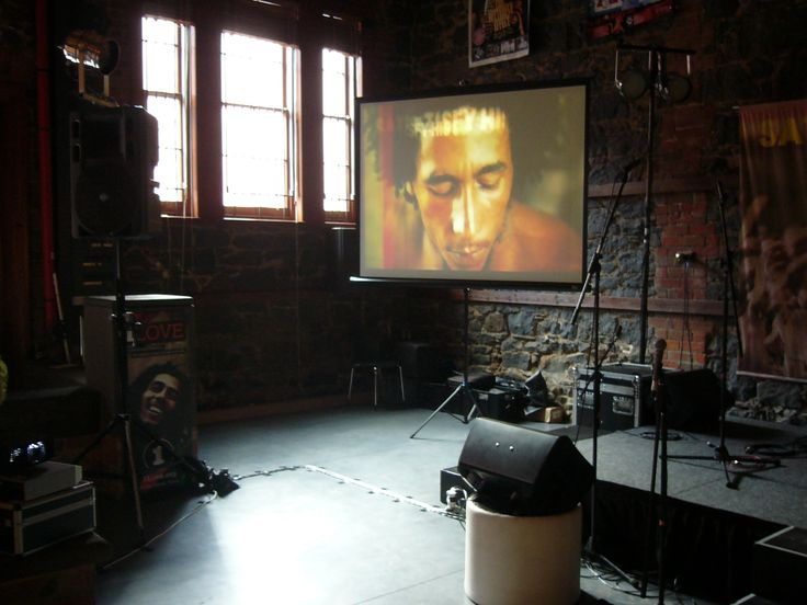 """""""Marley"""" product launch at StreetPress building in Abbotsford. The projector & screen is bright enough to cope with afternoon sun coming in a west facing window!"""