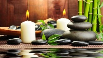 бамбук, черные, камни, массажные, спа, свечи, вода