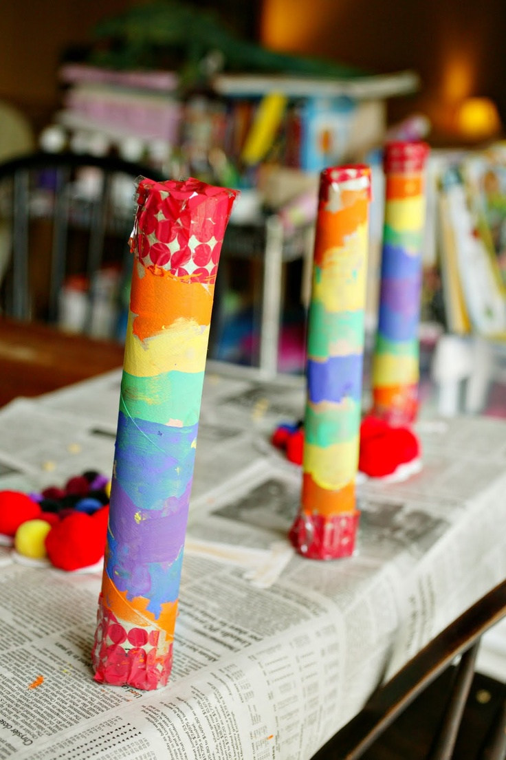 Rainbow Shakers: Made from an old cardboard tube. Just tape the ends and fill with rice or pasta and paint!