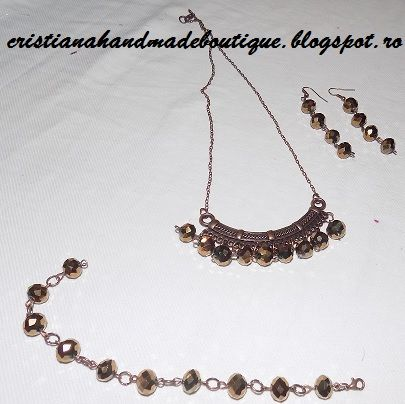 Cristiana Handmade Boutique: Set bijuterii mărgele fațetate maro  Daca doriti s...