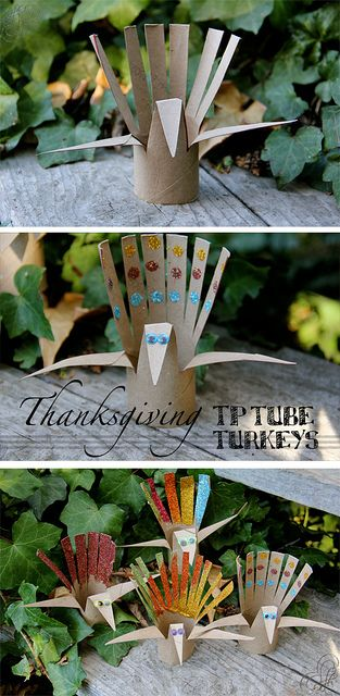 Thanksgiving craft for kids: TP tube turkeys. toilet paper tube, scissors, glitter, and goggly eyes.
