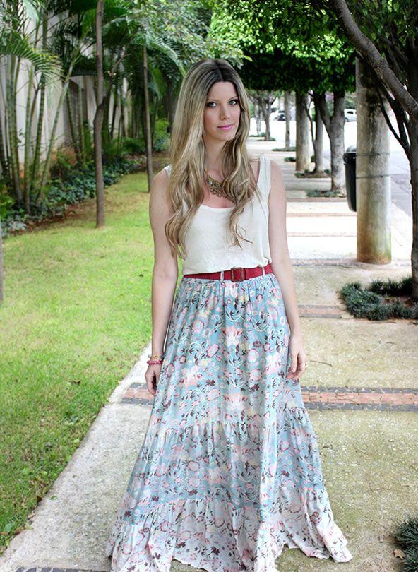 Look saia longa estampada ~ Colecionadora de Moda: Skirt, Fashion, Notion, Inspirações Saias, Moda Saia, Colecionadora De, Try Azul Marinho, Maxi Saia, Long Skirt
