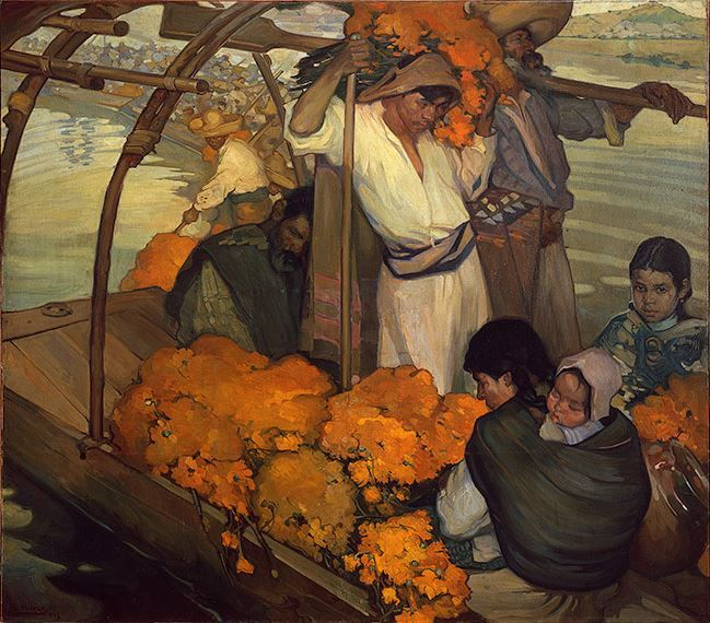 Saturnino Herrán. The Offering, 1913. Oil on canvas. 6 feet 1/16 inches x 6 feet 10 11/16 inches (183 x 210 cm).  'Paint the Revolution: Mexican Modernism, 1910-1950' at Philadelphia Museum of Art