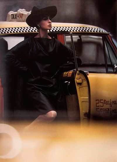 William Klein  Antonia + Yellow Taxi, New York 30/4, 1962     Despite having no formal training, William Klein became a hugely influential photographer in fashion and photojournalism. His use of motion blur, unusual in the 1960s, underlines this photograph of a model stepping out of a ubiquitous New York yellow cab