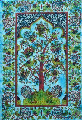 Sängöverkast Livets träd turkos