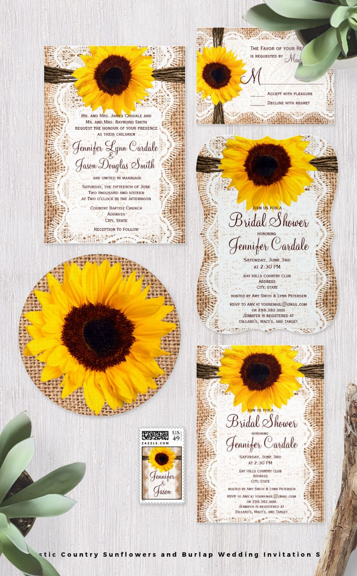 sunflower wedding invitations printable%0A Sunflowers and Burlap Rustic Country Wedding Invitation Set  Mix and Match  the items you need