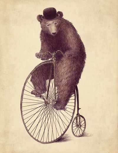 A dancing bear, similar to that which appears in Act III of The Bartered Bride. #circus #bear #bicycle