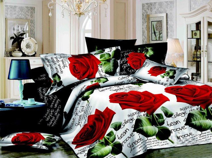 Large size 3D bedding set bed linen bedding sets family set 4 pcs duvet cover flat sheets pillowcases king size rose
