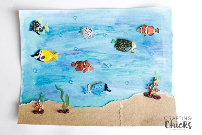 Looking for a fun kids craft to keep the kids entertained and working on their creativity? Try making this water color ocean art!