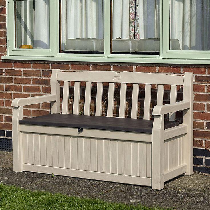 Wood effect Plastic Garden storage bench box DIY at B&Q