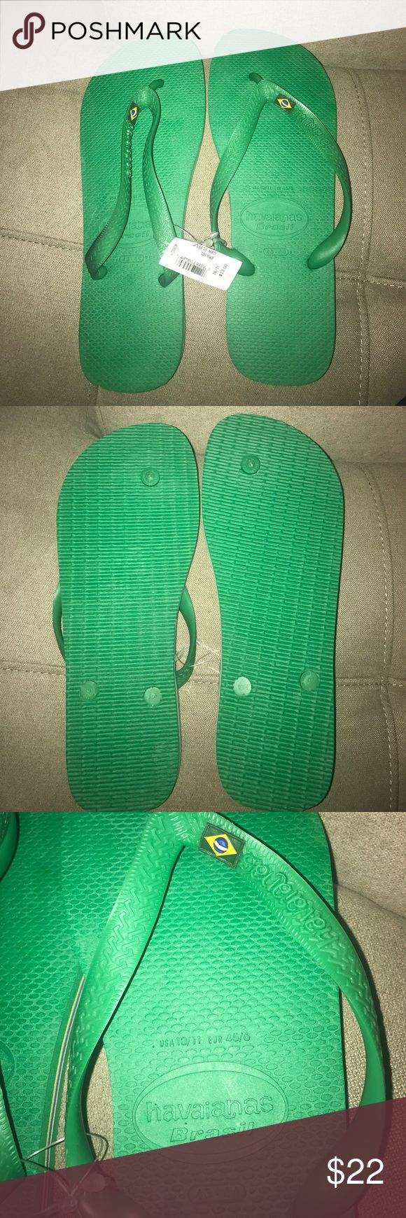 Men's Havaianas Brasil Flip Flops Men's Havaianas Brasil Flip Flops. Size 10/11. Green with Brazil flag accent. Brand new never been used Havaianas Shoes Sandals & Flip-Flops