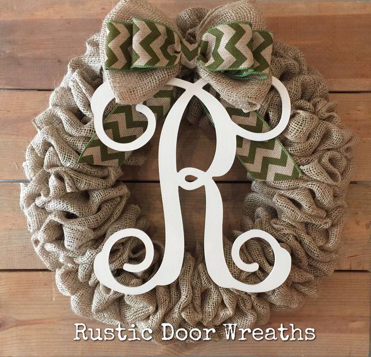 Front Door Wreath / Burlap Wreath / Initial Wreath / Front Door Letter Wreath / Fall Wreath / Monogram Wreath by RusticDoorWreaths on Etsy https://www.etsy.com/listing/542095898/front-door-wreath-burlap-wreath-initial