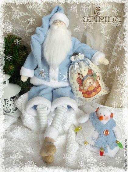 Куклы Тильды ручной работы. Ярмарка Мастеров - ручная работа Санта с мешком и снеговиком. Handmade.