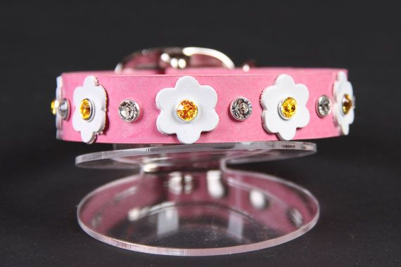 Pink Leather Dog Collar with White Flowers  Size M by JustForBella, $56.00