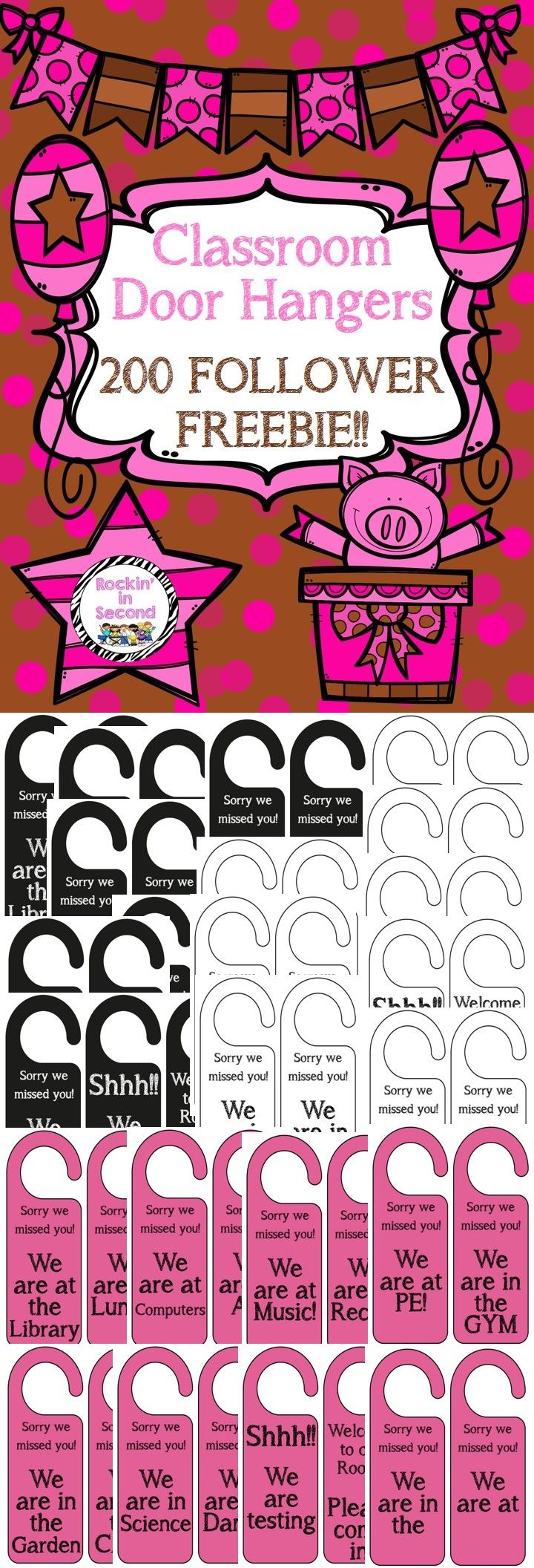 Enjoy these simple Classroom Door Hangers to notify people where you are or to let them know you are testing. Each set comes in Black with White letters, Pink, and White with Black for saving ink. Simply print on cardstock, laminate and cut!! Follow me on TPT for more exciting activities and FREEBIES!! All new products are 50% off for the first 24 hours. Like me on Facebook too: www.facebook.com/rockininsecond