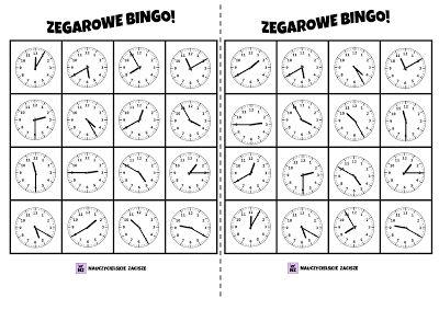 Zegarowe Bingo! dziecko dostaje planszę Rodzic odkrywa jeden zegar z góry, odczytuje godzinę a dziecko szuka takiego samego zegara na swojej planszy i oznaczają go (pionkiem/kulką z papieru/zamalowują). Wygrywa ten, kto jako pierwszy oznaczy 4 zegary w rzędzie, kolumnie lub na skos.