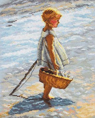 6PCE601 Broderipakning - Pige i vandkant Str. 25 x 20 cm. Sys på gråt Aida med 6,4 tr. pr. cm. Pakningen indeholder billede, stof, mønster og Anchor garn samt en nål.