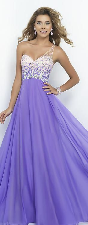 Embellished Chiffon Lilac Princess One-Shoulder Natural Prom Dress In Stock topgradedresses54121syehb #long #promdress