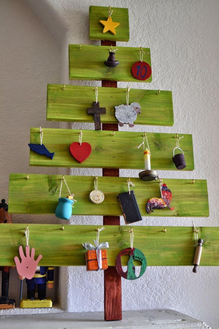 Christmas tree ornament display - Plenty Of Paprika Diy Advent Tree Ornament Display 25 Days Of Christmas